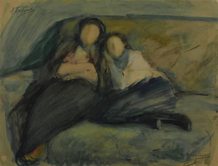 On the Sofa circa 1916 by Leonid Pasternak 1862-1945